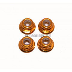 M3 Flanged Anodised Aluminum Wheel Nuts in Gold (Pack of 4)