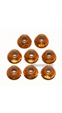 M3 Flanged Anodised Aluminum Wheel Nuts in Gold (Pack of 8)