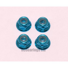 M3 Flanged Anodised Aluminum Wheel Nuts in Light Blue (Pack of 4)