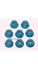 M3 Flanged Anodised Aluminum Wheel Nuts in Light Blue (Pack of 8)