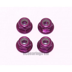 M3 Flanged Anodised Aluminum Wheel Nuts in Purple (Pack of 4)