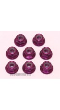 M3 Flanged Anodised Aluminum Wheel Nuts in Purple (Pack of 8)