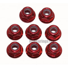 M3 Flanged Anodised Aluminum Wheel Nuts in Red (Pack of 8)
