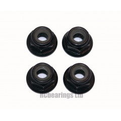 M4 Flanged Anodised Aluminum Wheel Nuts in Black (Pack of 4)