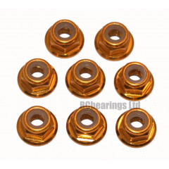 M4 Flanged Anodised Aluminum Wheel Nuts in Gold (Pack of 8)