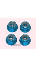 M4 Flanged Anodised Aluminum Wheel Nuts in Light Blue (Pack of 4)