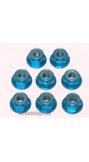 M4 Flanged Anodised Aluminum Wheel Nuts in Light Blue (Pack of 8)