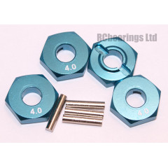 Aluminum Wheel Hex Adapters with Pins - 4mm (Blue)