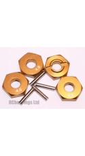 Aluminum Wheel Hex Adapters with Pins - 4mm (Gold)