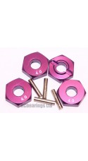 Aluminum Wheel Hex Adapters with Pins - 4mm (Purple)