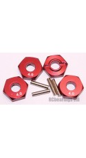 Aluminum Wheel Hex Adapters with Pins - 4mm (Red)