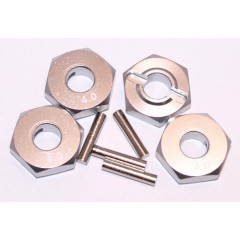 Aluminum Wheel Hex Adapters with Pins - 4mm (Silver)