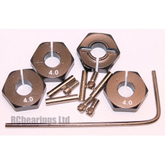 Aluminum Wheel Hex Adapters with Lock Screws - 4mm (Black)