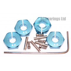 Aluminum Wheel Hex Adapters with Lock Screws - 4mm (Blue)