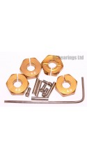 Aluminum Wheel Hex Adapters with Lock Screws - 4mm (Gold)