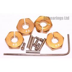 Aluminum Wheel Hex Adapters with Lock Screws - 4mm (Gold)