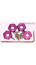 Aluminum Wheel Hex Adapters with Lock Screws - 4mm (Purple)
