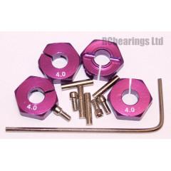 Aluminum Wheel Hex Adapters with Lock Screws - 4mm (Purple)