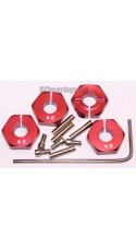 Aluminum Wheel Hex Adapters with Lock Screws - 4mm (Red)