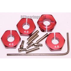 Aluminum Wheel Hex Adapters with Lock Screws - 4mm (Red)