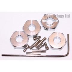 Aluminum Wheel Hex Adapters with Lock Screws - 4mm (Silver)