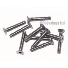 M2x12 Socket Countersunk Stainless Steel Screws x10