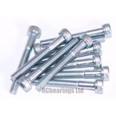 M3x25 Socket Cap Zinc Plated Steel Screws x10